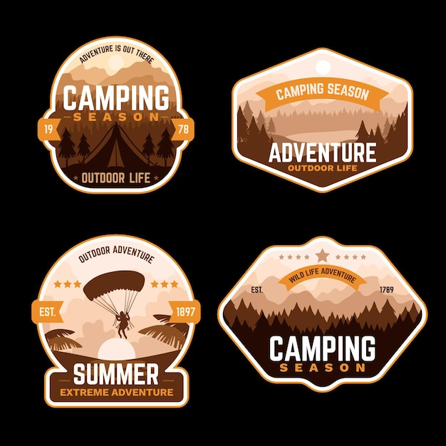 Distintivi di campeggio e avventure vintage Vettore gratuito