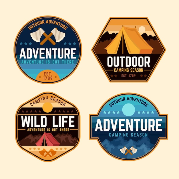 Vintage camping and adventures stickers Free Vector