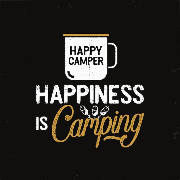 Vintage camping badge in retro style with mug and text Premium Vector