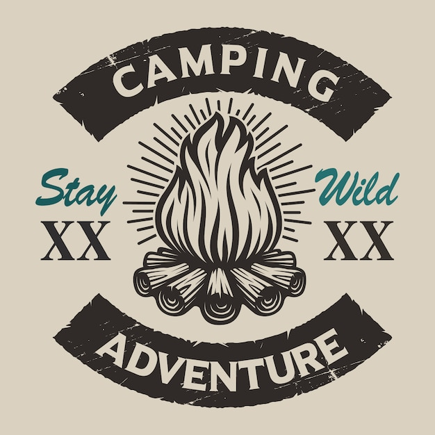 Vintage camping  emblem with a bonfire. perfect for logos, shirt design and many other Premium Vector