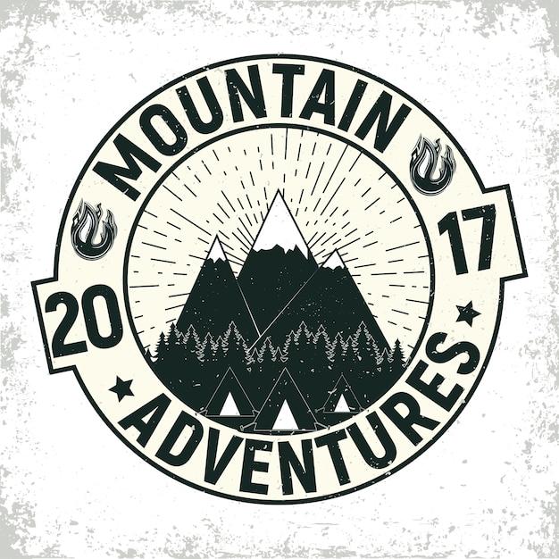 ヴィンテージキャンプや観光のロゴ Premiumベクター