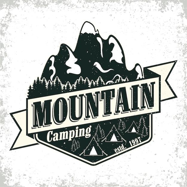 Vintage camping or tourism logo ,  grange print stamp, creative typography emblem, Premium Vector