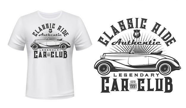 Винтажный автомобильный клуб с принтом футболки Premium векторы
