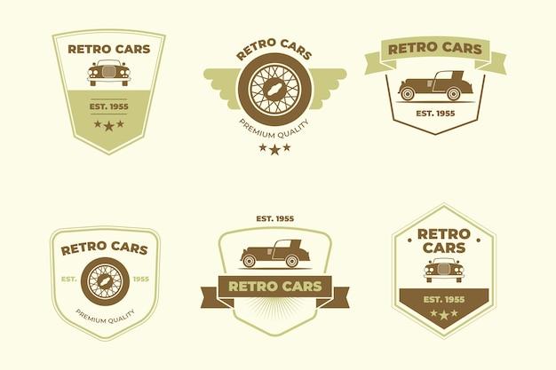 Концепция коллекции логотипов старинных автомобилей Бесплатные векторы