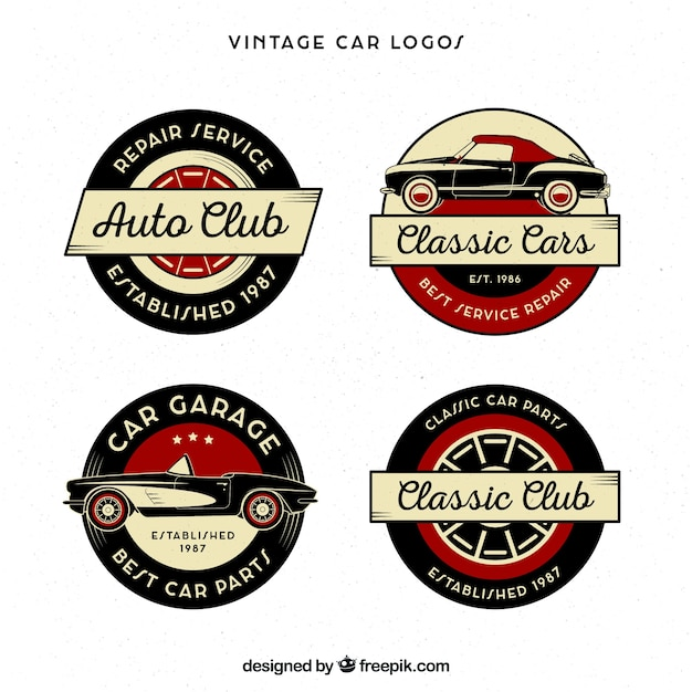 vintage car logo collection vector free download