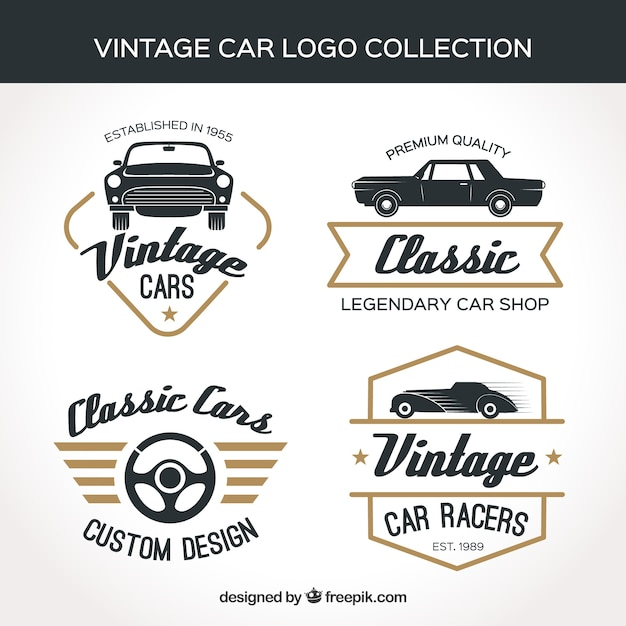 Коллекция логотипа vintage car Бесплатные векторы