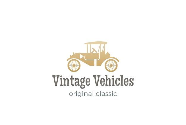 Логотип старинных автомобилей, изолированные на белом фоне Premium векторы