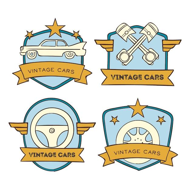 Набор старинных автомобилей с логотипом Бесплатные векторы