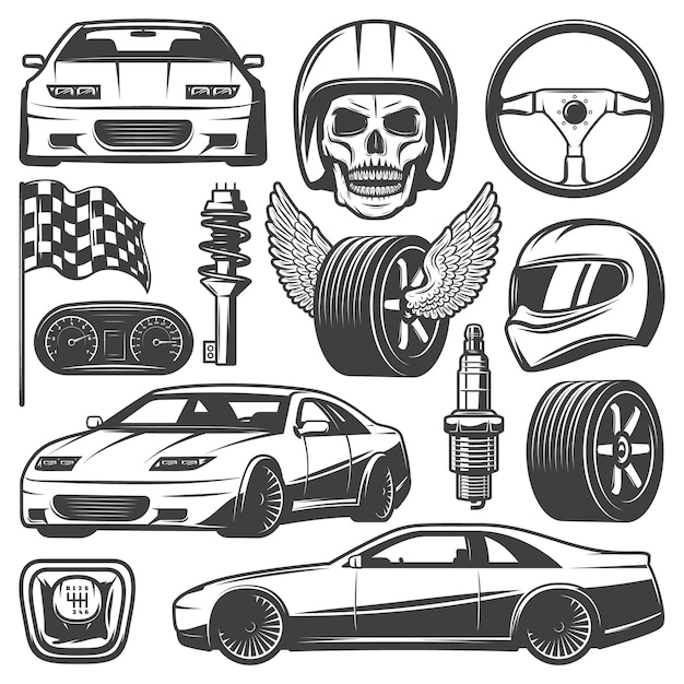 Vintage car racing icons set with automobiles steering wheel tires speedometer skull helmet gearbox flag shock absorber spark plug isolated Free Vector
