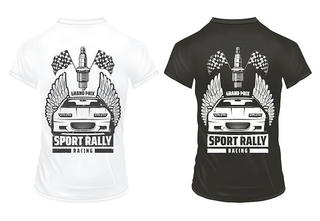 ヴィンテージカーレースプリントテンプレート碑文スポーツ自動車仕上げフラグ分離されたシャツのスパークプラグ 無料ベクター