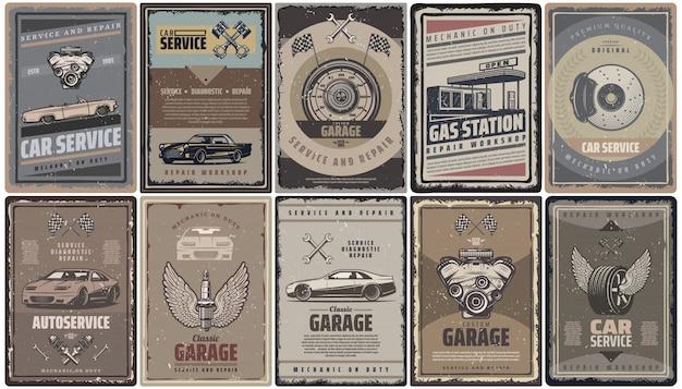 Коллекция брошюр с винтажными автосервисами с поршнями двигателя ретро-автомобилей, флагами азс и изолированными автозапчастями Бесплатные векторы