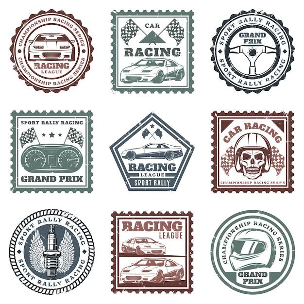 Винтажные автомобильные спортивные гоночные марки с надписями автомобилей рулевое колесо приборной панели череп шлем свеча зажигания флаги изолированные Бесплатные векторы