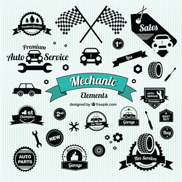 Vintage Car Symbols Vector Free Download