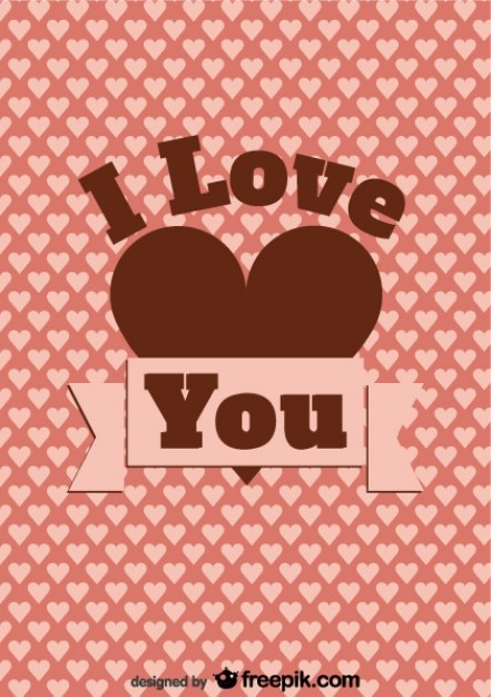 Download Vintage card design i love you message and hearts Vector ...