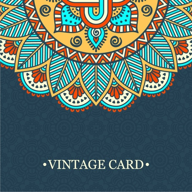 Vintage card with a mandala Vector | Free Download