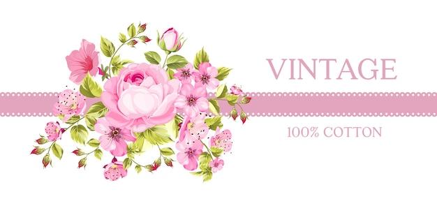 Винтажная открытка с цветущими цветами. Бесплатные векторы
