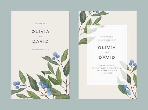 Винтажная открытка с синими ягодами, зелеными листьями и местом для текста для обложки Premium векторы