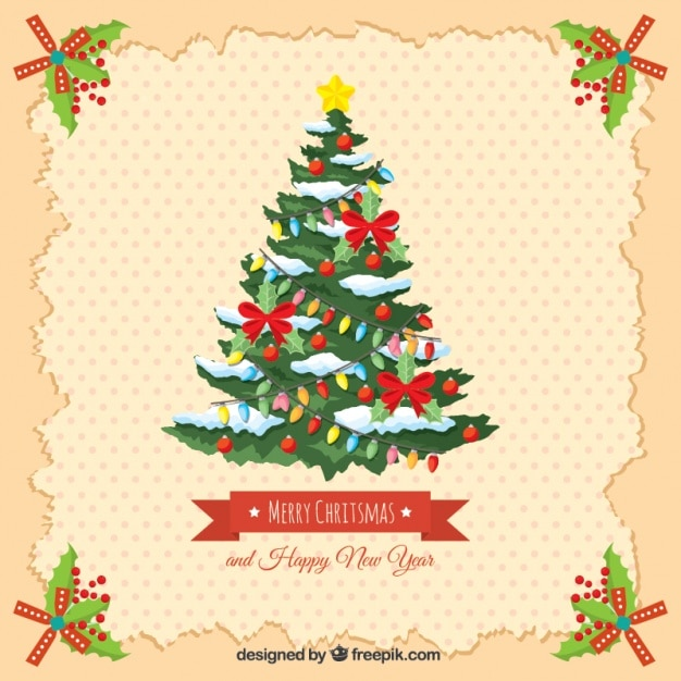 Vintage card with christmas tree and happy new year Free Vector