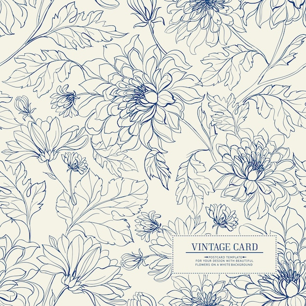 Vintage card with flowers seamless pattern. Premium Vector