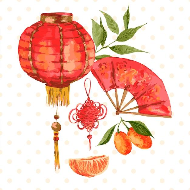 オレンジ、中国のランプ、handfanのヴィンテージのカード Premiumベクター