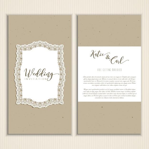 Vintage cardboard wedding invitation vector free download vintage cardboard wedding invitation free vector stopboris Image collections
