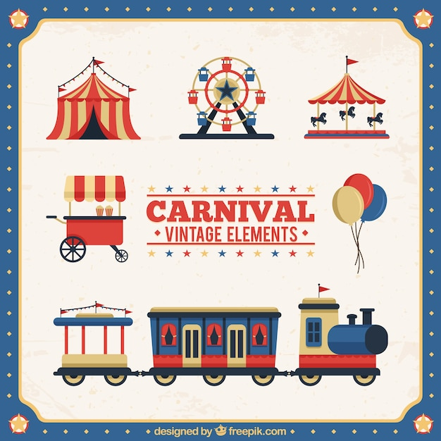 Vintage Carnival Elements Collection Free Vector
