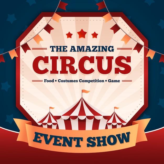 ビンテージカーニバルイベントは素晴らしいサーカスを表示します 無料ベクター