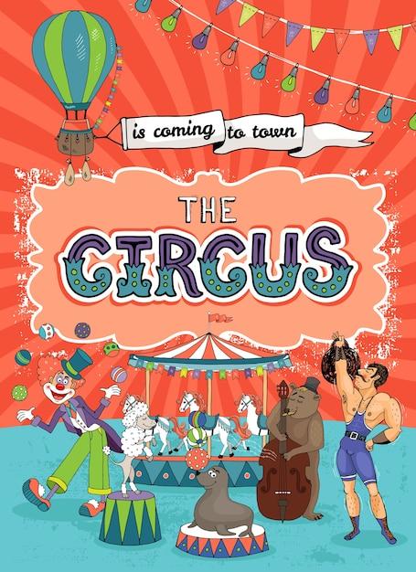 Шаблон плаката старинного карнавала, ярмарки или цирка Бесплатные векторы