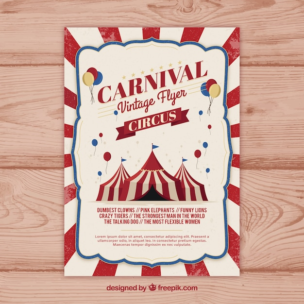 Vintage Carnival Party Flyer Poster Free Vector