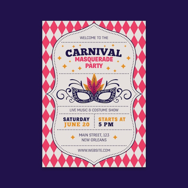 Vintage carnival party flyer with mask Free Vector