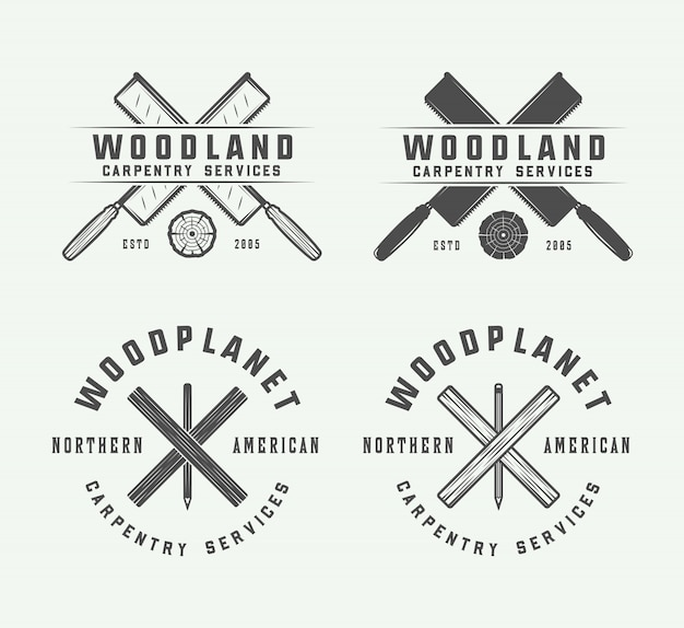 Vintage carpentry, woodwork emblems Premium Vector