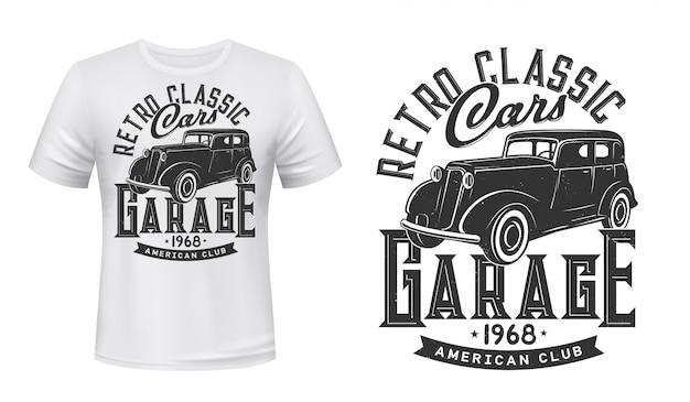 Винтажные автомобили гараж футболка с принтом макет Premium векторы