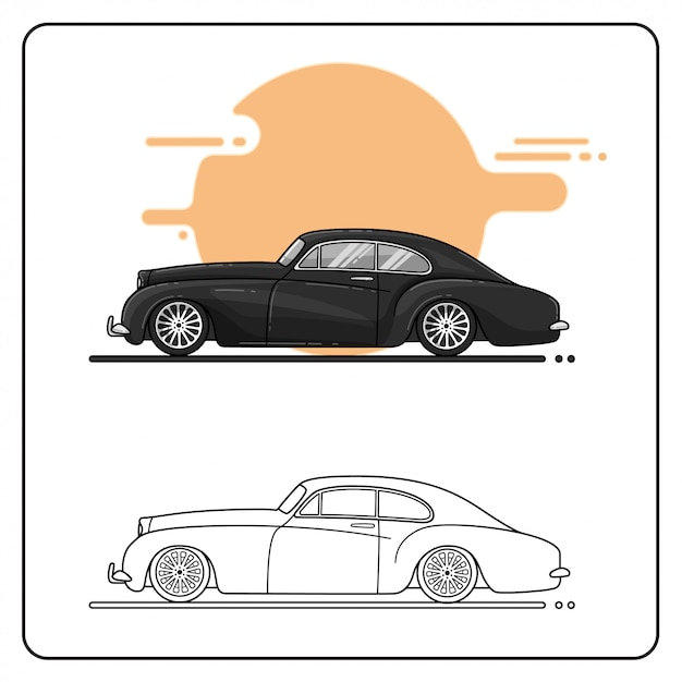 Vintage cars side view easy editable Vector | Premium Download