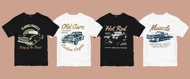 Vintage cars t shirt  bundle Premium Vector