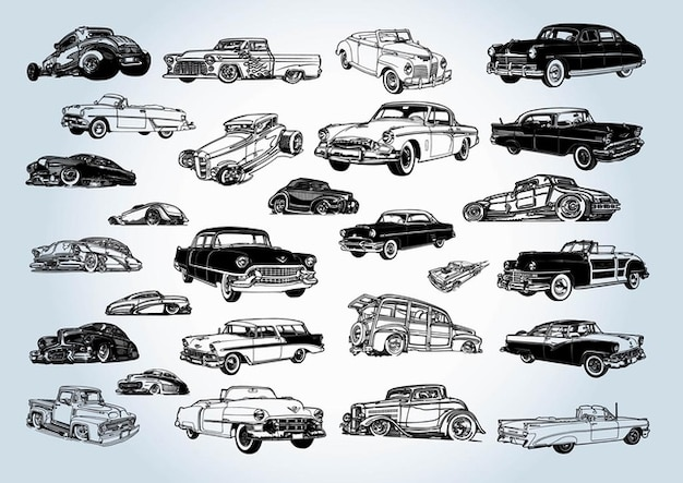 Vintage Cars Vectors Free Vector