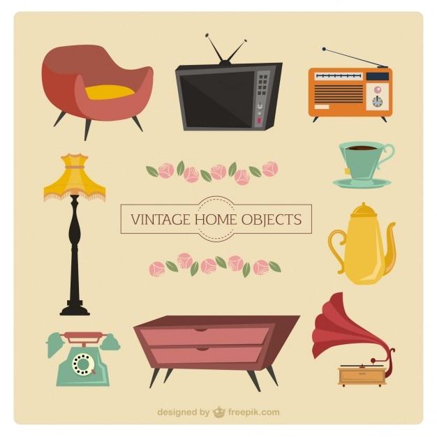 Free Vector Vintage Cartoon Furniture