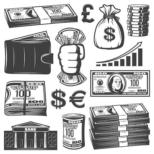 Коллекция старинных денежных элементов с деньгами стеки мешок банкнот монеты растет граф бумажник здание банка изолированы Бесплатные векторы
