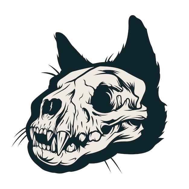 Винтажная концепция черепа кошки Бесплатные векторы