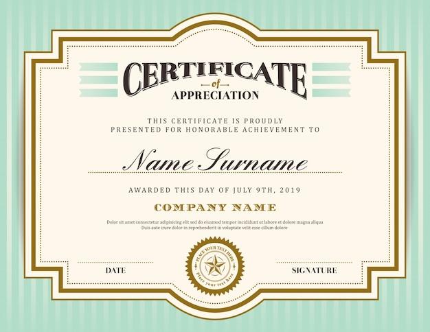 vintage certificate template vector premium download