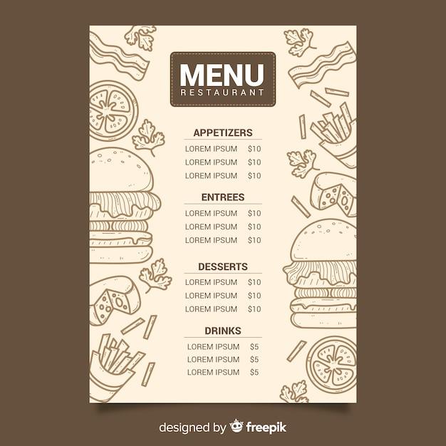 Vintage chalk drawing menu for restaurant Free Vector