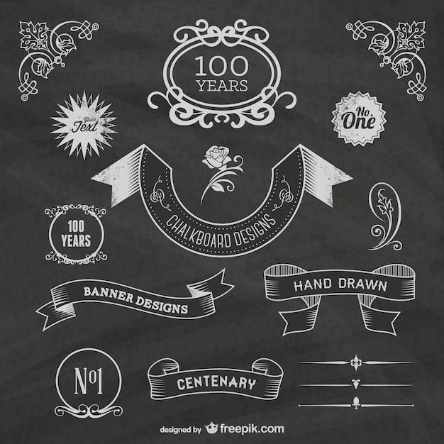 vintage chalkboard ribbons vector free download