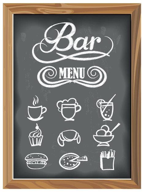 Vintage chalkboard with bar menu and food icons Premium Vector