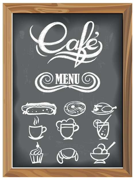 Vintage chalkboard with cafe menu icons Premium Vector