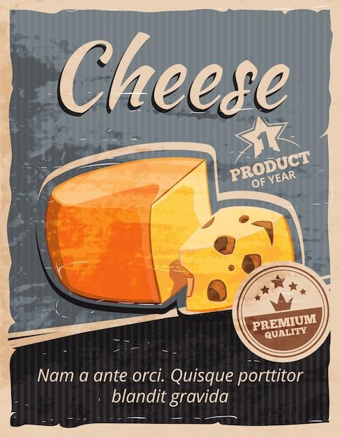 Винтаж сыр вектор плакат. закуски молочные, изысканный завтрак, ретро вкусный баннер иллюстрации Бесплатные векторы