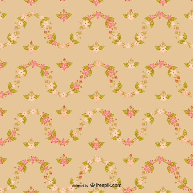 Vintage Cherry Blossom Pattern Free Vector