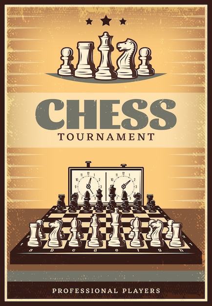 Vintage chess competition poster Free Vector