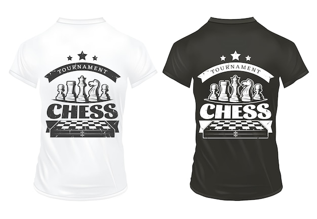 Vintage chess prints on shirts template Free Vector