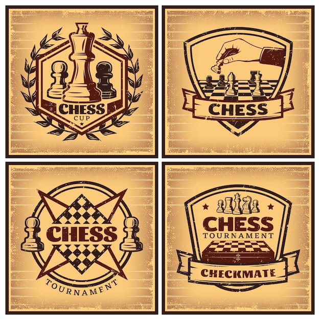Vintage chess tournament posters Free Vector