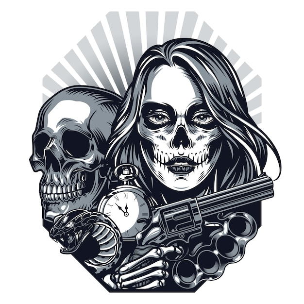 Vintage chicano style tattoo concept Free Vector