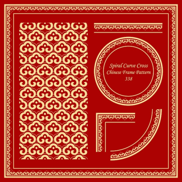 Vintage chinese frame pattern with oriental curve spiral cross chain Premium Vector